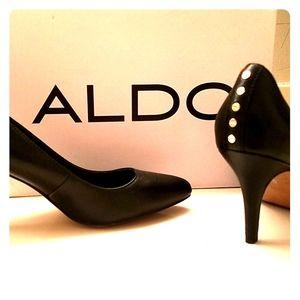 Aldo black leather heels with studs